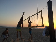 Guys Practice Spike Sunset
