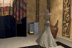 Heroes take journeys, confront dragons, and discover the treasure of their true selves. (Teddi Beres) Tags: life woman girl diamonds gold treasure sl blonde thief second pearl safe gown steal