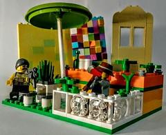 LEGO Bar Encounter (wesleyobryan) Tags: city bar gun lego meeting weapon future axe fallout standoff apocalego
