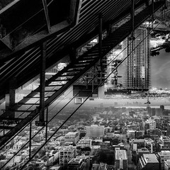 drauma. (jonathancastellino) Tags: leica city roof toronto abstract rooftop composite skyline stairs square landscape construction stair m stairway summicron series scape drama trauma interferencepatterns rooftopping drauma