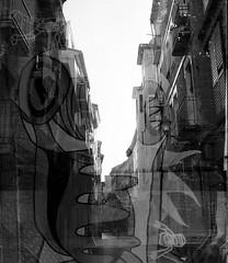 Double Exposure Test #6 (Victor.Colas) Tags: trip bw 35mm graffiti exposure kodak doubleexposure streetphotography hc110 olympus double bn zaragoza epson 400iso selfdeveloped dobleexposicion fomapan v500