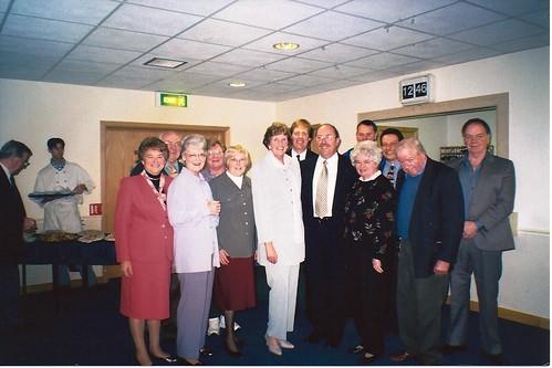 AGM of BIB at Kings Parks Bowls Club, Front Row Pat Howard, Edna Lipscombe, Mary Hutchins, Ann Eslick, Tony Adams, Winnie Thomas, Wally Holloway by Rad Howard.