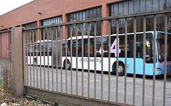 Behind bars: National Express Coventry Bendibus 6013 (paulburr73) Tags: 6013 articulated bendi bus bendibus o530g mercedes mercedesbenz ab56d coventry nxc wt cv garage depot swanswellpool city urban transport nationalexpress primrosehillstreet singledecker december 2016 241216 christmaseve winter citaro xmas bj03esu busdepot midlands westmidlands newin2003 branding service4