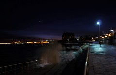 at night, by the ocean (*F~) Tags: portugal ocean atlantic waves unfocused blur night light humans walkers nocturne movement motion water salt dusk