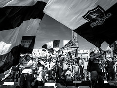 EM10-102016_Aniversario30GB-005 (Pablo Dalien) Tags: football futbol barrabrava hooligans colocolo chile estadio stadium people celebration flags fans fanatismo fanatic happy blackandwhite streetphotography santiago life style