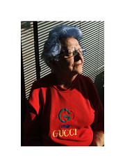 warm (Marek Pupák) Tags: central europe slovakia color photography warm sun old woman portrait canon 5 a2 film gucci blue hair analog femme