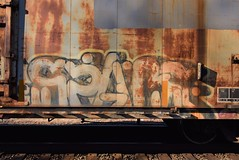SPACE (TheGraffitiHunters) Tags: graffiti graff spray paint street art colorful freight train tracks benching benched space yme circle t boxcar