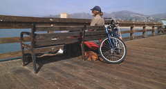 'Pier watchers' (Timster1973 - thanks for the 15 million views!) Tags: cal los angeles la america american united states usa seaside sea beach photography sand sandy mirrorless canon leisure city cali socal california waterfront us tim knifton timster1973 beachfront ocean front sidewalk outdoor pier bike cycle bicycle white street candid life 1545mm malibu coast road coastal vehicle canonm3 canonmirrorless sunny sun