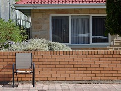 Chair Left on the Street (mikecogh) Tags: brick wall chair context street left abandoned lavender footpath pavement glenelg