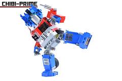 5. Chibi-Prime Kick (Sam.C MOCs (S2 Studios)) Tags: lego transformers optimus prime chibi moc mech robot anime scifi car truck