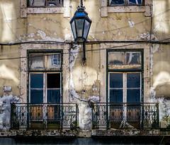 Windows of the Past (dbrugman) Tags: lamp balcony building architecture old past windows lisbon lisboa fujifilm xt1 portugal