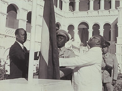 Sudan's flag raised at the independence ceremony by the Prime Minister Isma'il Alazhari (Historystack) Tags: africa unitedkingdom contemporary sudan politics egypt 1950s 20thcentury foundations january1 year1956 angloegyptiansudan historyofsudan historyofunitedkingdom ismailalazhari