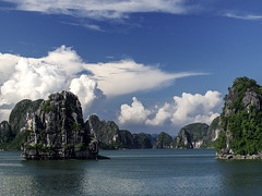 Ha Long Bay, Viet Nam (creditflats) Tags: blue sky water clouds pen wonder landscape island islands bay dragon olympus vietnam viet cumulus halong nam geological ep5