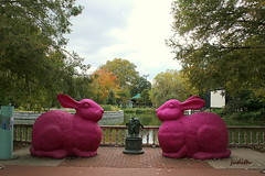 giant pink bunnies (judecat (getting back to nature)) Tags: bunnies zoo conservation plastic rabbits recycle philadelphiazoo pinkrabbits secondnaturejunkrethunk