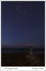 Calblanque VIII (P. Yez) Tags: travel blue espaa seascape stars spain europa europe long exposure murcia estrellas nocturna startrails larga exposicin nocturn startrail calblanque mojn