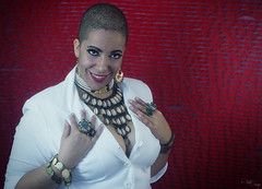 MaMarie LaVeaux - White Suit - 5 (AlseteImages) Tags: red fashion female glamour shot shots head femme shaved jewelry lips