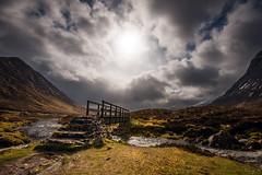 Skyfall (Tony N.) Tags: bridge light sky mountains clouds river scotland highlands europe rivire ciel pont nuages contrejour montagnes etive glenetive ecosse againstthelight d810 skyfall tonyn nikkor1635f4 tonynunkovics
