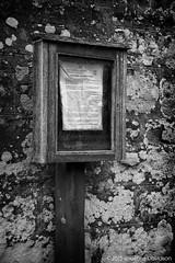 Garvock Parish Church - Old notice board 2015-10-25b (G Davidson) Tags: uk scotland aberdeenshire mearns 2015 garvockparishchurch
