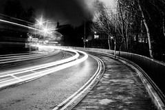 bend to the church (PDKImages) Tags: stockport longexposure red white lights redlight whitelight viaduct monochrome traffic roads m60 manchester motorway creative shadows