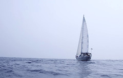 Very early fog before the storm (worlogha) Tags: hurricane wilma storm fog sailing sail sailboat sailingboat silouette sea ocean oldman sails