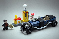 Refuel, please! (Vaionaut) Tags: lego hotrod darkblue shell fuel gasstation petrolstation petrol