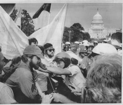 Police club veterans on the Mall: 1974 (washington_area_spark) Tags: vietnam veterans against war vvaw 1974 mall march demonstration encampment occupy protest universal unconditional amnesty decent benefits for all vets implement the agreementsend aid to thieu and lon nol single type discharge kick nixon out washington dc clash police injuries arrest