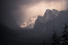 Light of the Storm (Maddog Murph) Tags: yosemite valley el capitan falls cathedral rocks east tunnel view taft point tentinel dome glacier bridalveil fall wawona merced river forest trees snow storm darkness gray clearing light