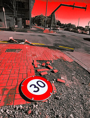 No Need for Speed (Steve Taylor (Photography)) Tags: chaos art digital sign building cone traffic road construction grey red yellow block newzealand nz southisland canterbury christchurch cbd city lines yellowline yellowlines