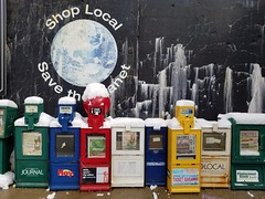Gathering in the cold (2017-03-14_10-31-46) (jdunlevy) Tags: newspapers newsboxes newspaperboxes savetheworld mural oakpark shoplocal