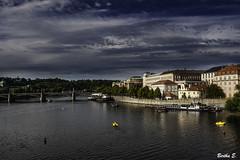 Prague- Czech Republic (Bertha E.) Tags: city travel bridge summer sky house lake water clouds boat europe view prague capital july júlí icelandic bildings 2015 roudtrip czechrepubluc berthae