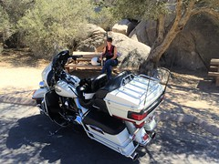 Joshua Tree National Park - Sunday Morning Breakfast Ride (simbajak) Tags: 2003 california park morning summer white hot tree classic breakfast table high picnic tour ride desert joshua harley national mojave motorcycle davidson ultra hiddenvalley