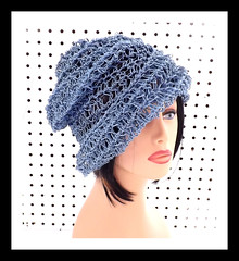 Crochet Hat Womens Hat, Womens Summer Hat Women, OMBRETTA Crochet Beanie Hat, Hemp Cord Hat, Blue Hat, Boho Hat (strawberrycouture) Tags: blue summer hat cord strawberry women crochet womens chic beanie boho couture hemp