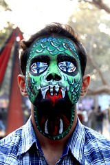 Dragon Face (Neetesh Gupta (neeteshg)) Tags: india green art fun facepainting dragon iit springfest horror python beatiful westbengal iitkharagpur iitkgp kgp