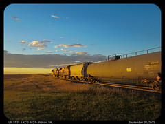 UP 5535 & KCS 4831 North @ Wilcox, SK (Going Trackside Photography) Tags: city canada up pacific sub union canadian southern kansas saskatchewan cp kcs weyburn