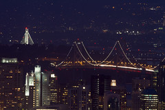 Oakland-San Francisco Bay Bridge (Dwine76) Tags: sanfrancisco city bridge night oakland bay twilight cityscape twinpeaks baybridge bayarea