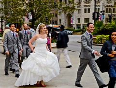 Bride and Groom - Michigan Avenue - Chicago IL (Meridith112) Tags: street autumn wedding woman chicago man fall groom bride illinois nikon october midwest streetscene il weddingparty michiganavenue weddingdress weddingday redshoes cookcounty flickrmeetup 2015 wscf flickrgroupmeetup thebigday nikon2485 westsuburbanchicagoflickrers nikond610 photowalk1032015 wscfphotowalk1032015