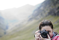 The Duel (DMeadows) Tags: camera wild woman mountain nature girl female rural lens person scotland countryside photo nikon photographer walk country hill picture yvonne hills hidden trail highland human valley threesisters glencoe wilderness range bideannambian nikonshudder