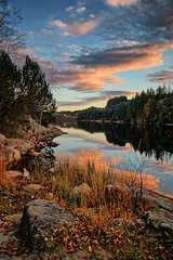 Autumn memory, Norway (Vest der ute) Tags: g7x norway haugesund rogaland djupadalen water waterscape reflections mirror trees sky clouds rocks serene fav25 fav200