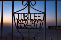 Jubilee (142of365) (Reckless Times) Tags: foggy morning port meadow jubilee sign gate sunrise early riser metal fog mist project 365 nikon d750