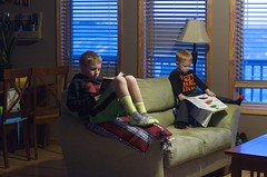 Day 13, Jan. 13. Reading. (mickifries) Tags: 365project familylife candidchildhood kids littleboys brothers boys books boyhood bookworm bookworms bestofbookworms redhair reading colors