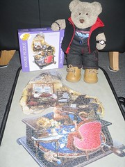 Sumfink called a 'grammerfone' (pefkosmad) Tags: jigsaw puzzle hobby leisure pastime rusellcobane bitsandpieces shaped complete 750pieces musicalmemories tedricstudmuffin ted teddy bear soft stuffed cute cuddly plush fluffy toy