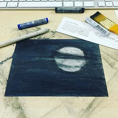 Got my new @scrawlrbox today. Decided to give the #scrawlrchallenge a go. So here's my cosmic landscape, that's actually a cosmic skyscape. 😍🌕 Also, jeepers pastels are messy. #10minsbeforebed #art #pastel #drawing #moon #doitforthepr
