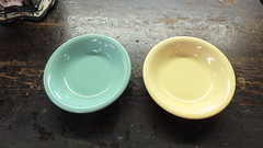 Fiesta berry bowls (dumblady) Tags: sea mist yellow shop fiesta florida antique pale dishes bowls fiestaware seamist dinnerware ware chiefland