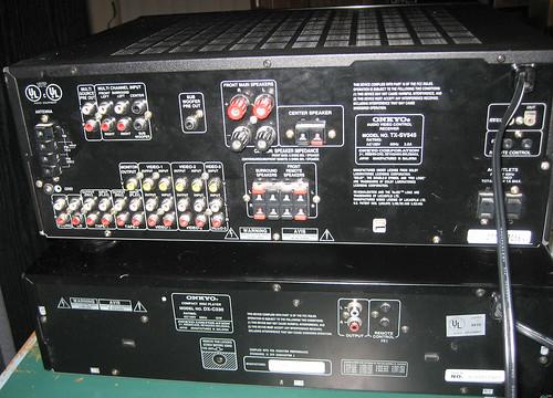 20131116 - freecycle booty - IMG_0346 - back of Onkyo amp & CD-player