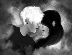 You and I (Genesis Halsey - Blogger) Tags: white black art love illustration digital dark star couple happiness yang indie ang yin universe distance 2d emotions wacom alternative feelings
