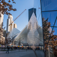 9.11 Museum and WTC Transportation, NYC (nianci pan) Tags: city nyc urban newyork reflection glass museum landscape mirror cityscape manhattan sony wing wtc pan     sonyalphadslr nianci sonyphotographing 911museum  wtctransportation