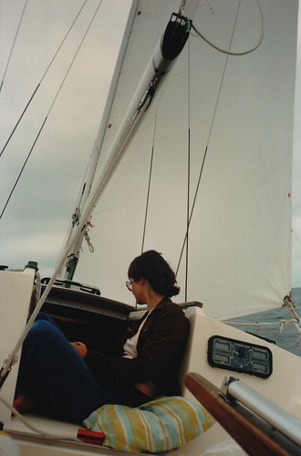 Deb in the companion way while under sail in Georgian Bay, The Great Lakes