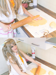 Kotori (AtelierRaza) Tags: コスプレ cosplay light green costume female anime manga people cloud hair coser video canon 50mm alsace suit white pink yellow fluffy beauty kotori love live school idol festival llsif minami 南ことり ラブライブ snow halation colmar christmas μ's cookies bredele sweet cooking biscuit indoor kitchen