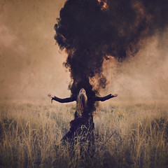 rapt (brookeshaden) Tags: brookeshaden fineartphotography surrealphotography darkart selfportraiture blackcloud smoke plume