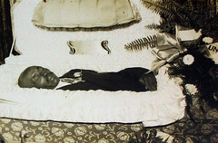 In Repose (Midnight Believer) Tags: death coffin casket funeral wake postmortem deceased retro 1940s unknown dead corpse repose